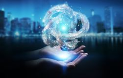 Businesswoman using futuristic torus textured object 3D renderin Stock Photo
