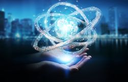 Businesswoman using futuristic torus textured object 3D renderin Royalty Free Stock Photos