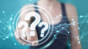 Businesswoman using question marks digital interface 3D renderin. Businesswoman on blurred background using question marks digital interface 3D rendering Royalty Free Stock Image