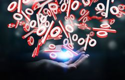 Businesswoman using white and red sales flying icons 3D renderin. Businesswoman on blurred background using white and red sales flying icons 3D rendering Stock Photos
