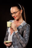 Businesswoman with body paint and coffee Stock Images