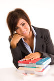 Businesswoman with books Royalty Free Stock Photos