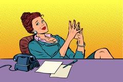Businesswoman boss sitting at the office Desk. Pop art retro vector illustration comic cartoon vintage kitsch royalty free illustration