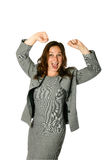 Businesswoman, both arms up. Young female businesswoman with both arms up in air showing jubilation, isolated on white stock images