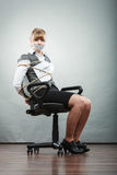 Businesswoman bound by contract with taped mouth. Royalty Free Stock Photography