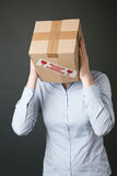 Businesswoman with Box as a Head Stock Photography