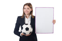 Businesswoman with box and blank board isolated Royalty Free Stock Photo