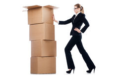 Businesswoman with boxes Royalty Free Stock Photos