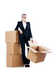 Businesswoman with boxes Stock Photos