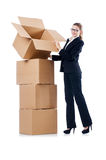Businesswoman with boxes Stock Photography