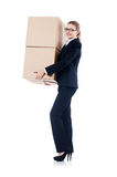 Businesswoman with boxes Stock Image