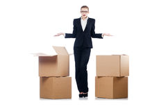 Businesswoman with boxes Royalty Free Stock Photo