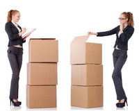 The businesswoman with boxes isolated on white Royalty Free Stock Photos