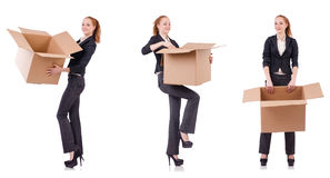 The businesswoman with boxes isolated on white Royalty Free Stock Photo