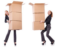 The businesswoman with boxes isolated on white Royalty Free Stock Photography