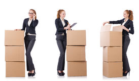 The businesswoman with boxes isolated on white Royalty Free Stock Images