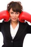 Businesswoman boxing Stock Photos