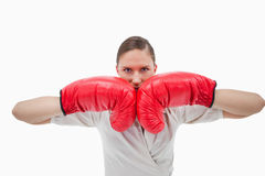 Businesswoman with boxing gloves Royalty Free Stock Images