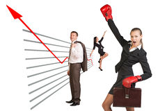 Businesswoman in boxing-gloves Royalty Free Stock Image