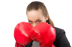 Businesswoman with boxing gloves isolated on white Stock Photos