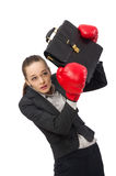 Businesswoman with boxing gloves isolated on white Stock Photography