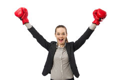 Businesswoman with boxing gloves isolated on white Royalty Free Stock Photo