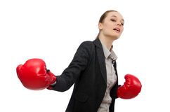 Businesswoman with boxing gloves isolated on white Stock Images