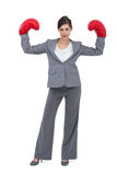 Businesswoman with boxing gloves royalty free stock image