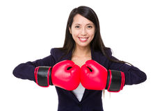 Businesswoman boxing punching with hands Royalty Free Stock Photo