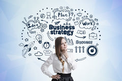 Businesswoman with a braid and business strategy Royalty Free Stock Image