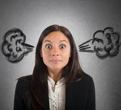 Businesswoman brain in smoke Royalty Free Stock Images
