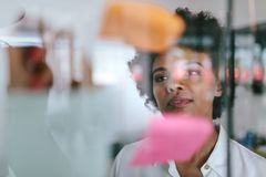 Businesswoman during a brainstorming session royalty free stock image