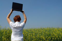 Businesswoman break. Businesswoman in the middle of a flower field with her laptop taking a break and leaving the computer aside Royalty Free Stock Image