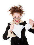 Businesswoman breaks documents Royalty Free Stock Images