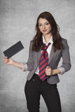 Businesswoman with a bribe in hand Royalty Free Stock Images