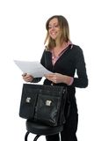 Businesswoman with briefcase Stock Images