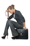 Businesswoman with briefcase Stock Photos