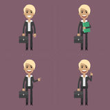 Businesswoman with briefcase in different poses Royalty Free Stock Photos