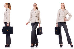 The businesswoman with briefcase isolated on white Royalty Free Stock Image