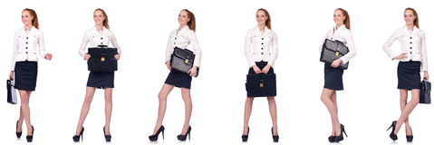 The businesswoman with briefcase isolated on white Royalty Free Stock Photography