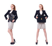 The businesswoman with briefcase isolated on white Royalty Free Stock Photos