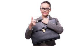The businesswoman with briefcase isolated on white Royalty Free Stock Images