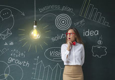 Businesswoman with bright idea. Shocking businesswoman looking at light bulb front on chalkboard royalty free illustration