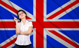 Businesswoman and british  flag Royalty Free Stock Images
