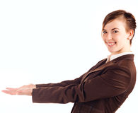 Businesswoman in brown suit Stock Photo
