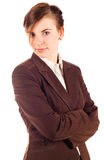 Businesswoman in brown suit Royalty Free Stock Images