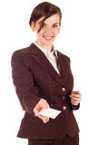 Businesswoman in brown suit Royalty Free Stock Image