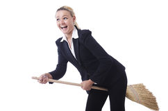 Businesswoman with brush Royalty Free Stock Images