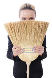 Businesswoman with brush Royalty Free Stock Image