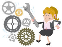 Businesswoman Buddy fixes the Machine. Illustration of Businesswoman Buddy fixing the machine with her massive Spanner Royalty Free Stock Image